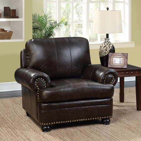 Brown Leather Match Chair (Furniture of America  Koda Traditional Top Grain Leather Match Dark Brown)
