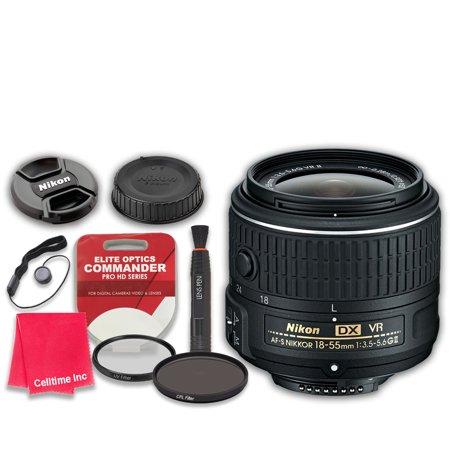 Nikon AF-S DX NIKKOR 18-55mm f/3.5-5.6G VR II Zoom Lens with Elite Optics Commander Pro HD Series Ultra-Violet Protector UV Filter & Circular Polarizer CPL Multi-Coated Filter - International