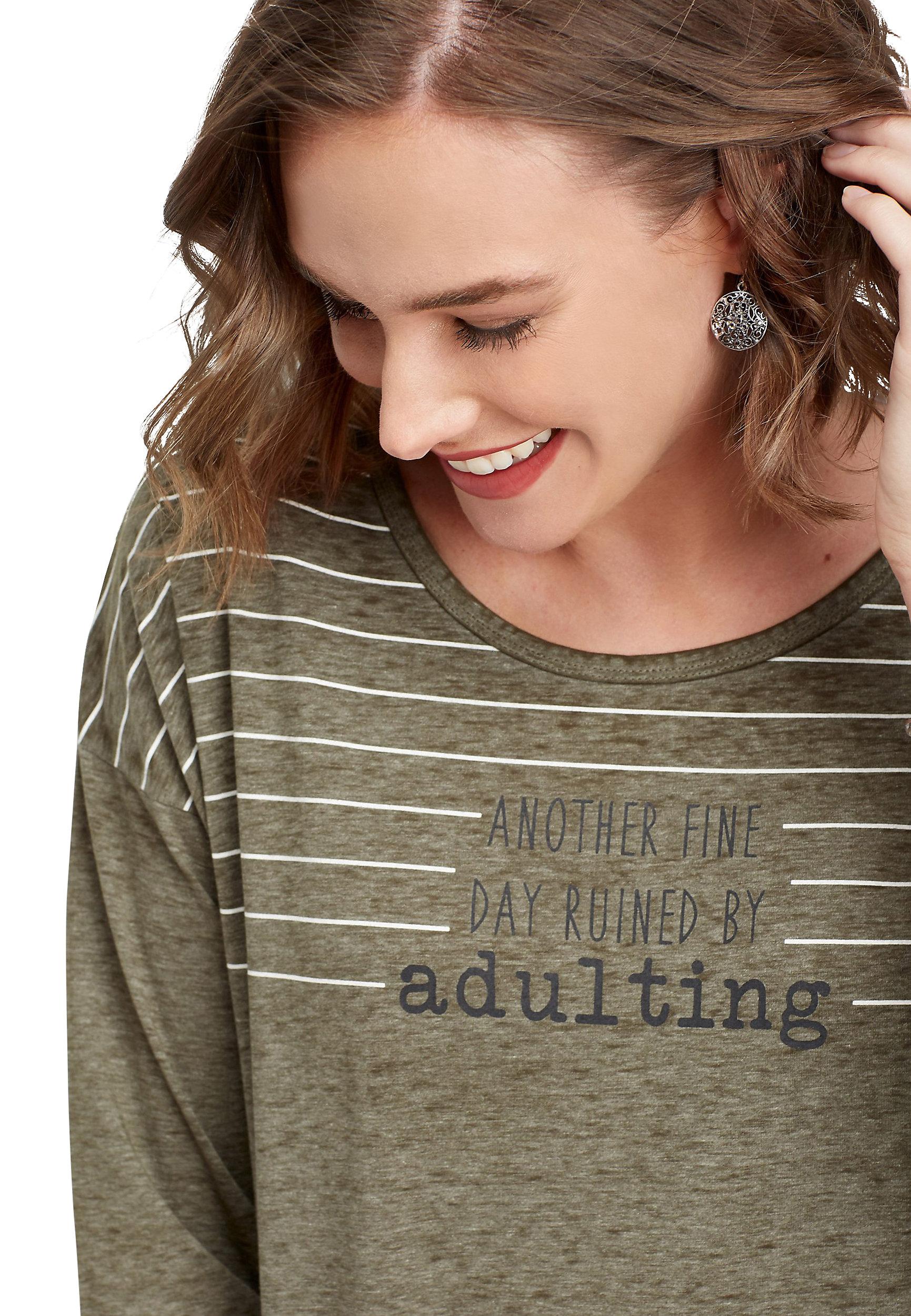 Adulting 3/4 Sleeve Graphic Tee