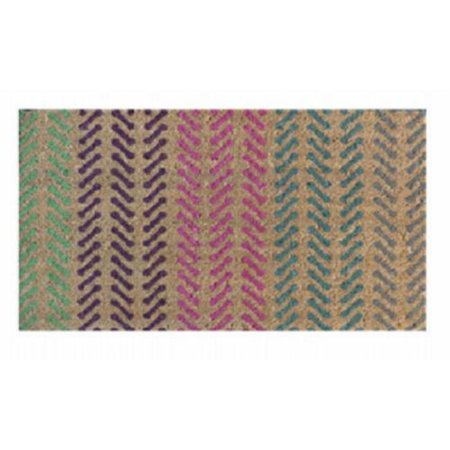 Palm Fibre 236174 18 x 30 in. Coir Door Mat with Vinyl Backed, Multicolor