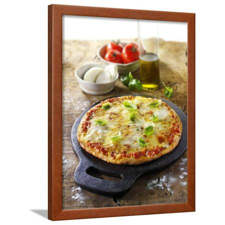 Tomato and Mozzarella Pizza with Basil Framed Print Wall Art By Paul - Tomato Mozzarella Pizza
