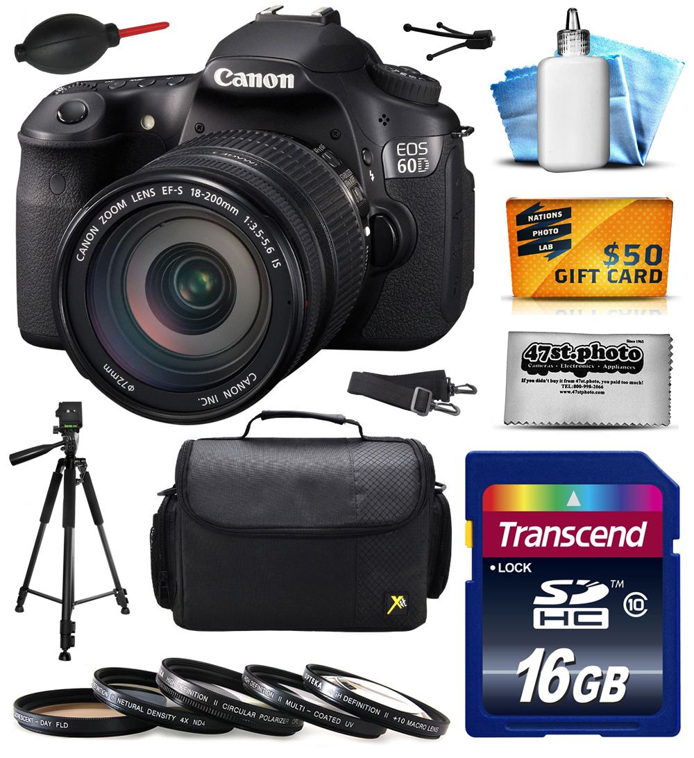 Canon EOS 60D 18 MP CMOS Digital SLR Camera with EF-S 18-200mm f/3.5-5.6 IS Lens includes 16GB Memory + Large Case + Tripod + 5 Piece UV-CPL-FL-ND4-10x Filters + Cleaning Kit + $50 Gift Card 4460B016
