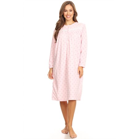 80e9d8b189 Lati Fashion - 4028 Fleece Womens Nightgown Sleepwear Pajamas Woman Long  Sleeve Sleep Dress Nightshirt Pink L - Walmart.com