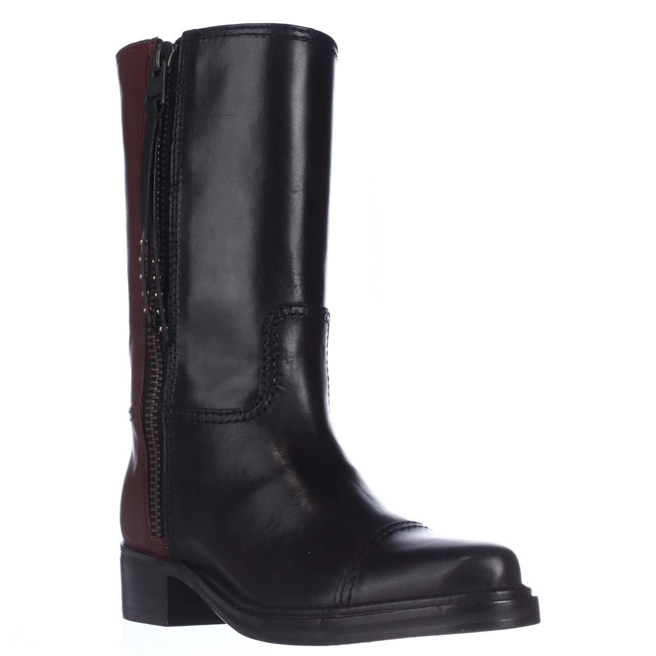 Womens Coach Short Western Mid-Calf Two-Tone Boots, Black...