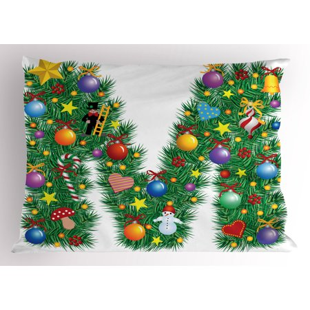 Letter M Pillow Sham Festive Cute Colorful Figures on Letter M Winter Season Theme Snowman Holly Berry, Decorative Standard Size Printed Pillowcase, 26 X 20 Inches, Multicolor, by Ambesonne