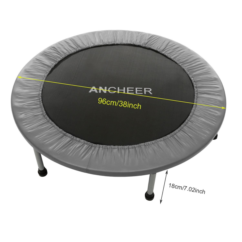"40"" Round Folding Trampoline -  Feet + Safety Pad Around Gray"