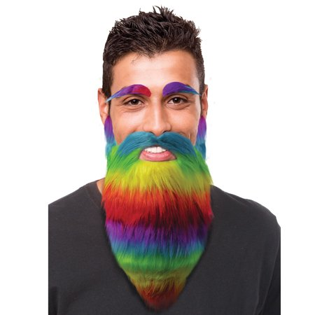 Rainbow Mens Adult Gay Pride Eyebrow And Beard Costume Facial Hair - G-a-y Halloween London