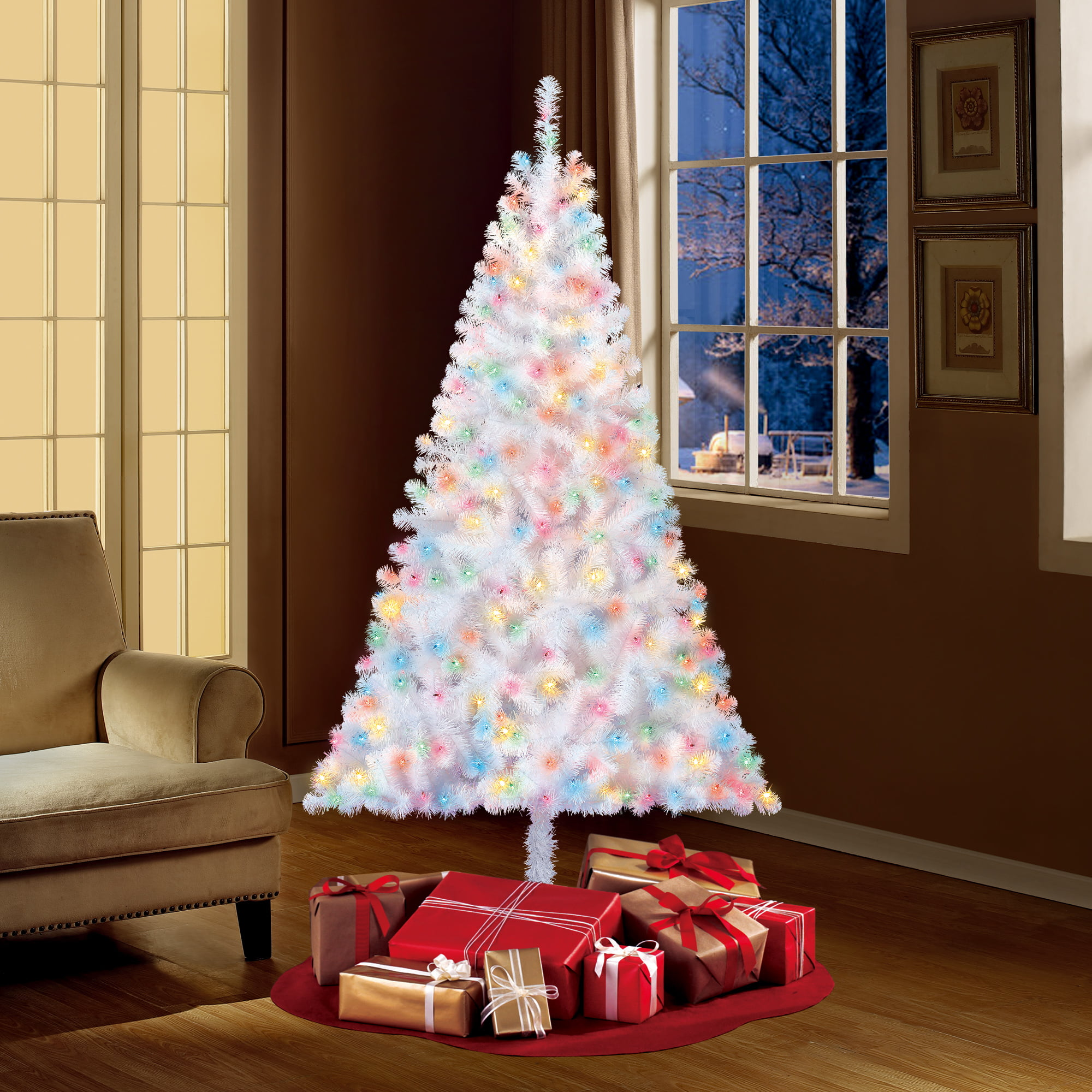 Holiday Time Pre Lit 6 5 Madison Pine White Artificial Christmas Tree Multi Lights Walmart Com Walmart Com