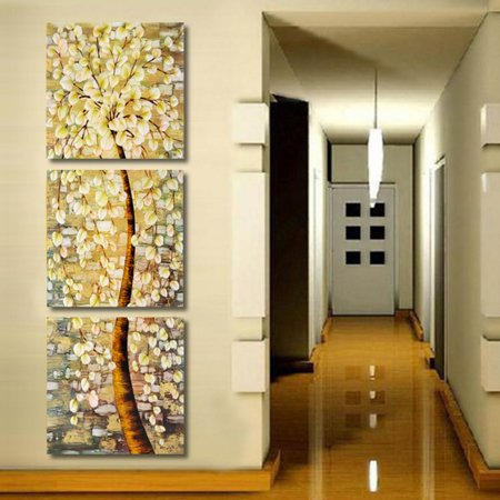 Unframed 3Pcs Modern Abstract Life Tree Oil Canvas Print Painting Art Picture Wall (Tree Set Oil Painting)