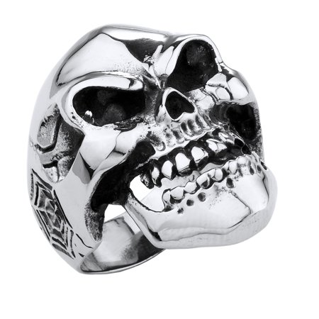 Stainless Steel Smiling Evil Eyes Skull Ring, with Spider Webs on the sides (Available in Sizes 10 to 14)size (Surgical Steel Spider Web Ring)