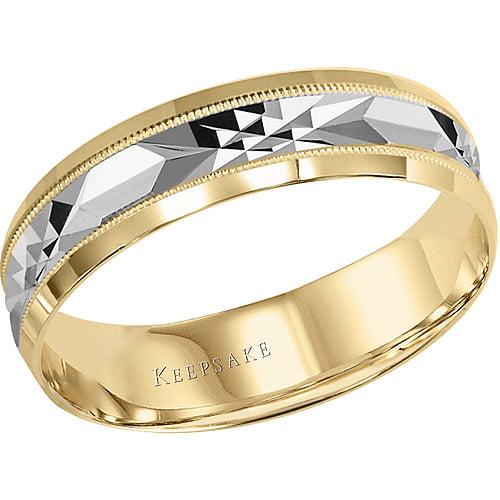 Keepsake Chance Milgrain Engraved Wedding Band in 10kt Yellow Gold by Frederick Goldman Inc.