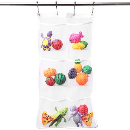 Shower Organizer Quick Dry Hanging Caddy and Bath Organizer with 6-pocket Hang on Shower Curtain Rod / Liner Hooks Mesh Shower Caddy Bathroom Accessories with 8 Rings 1 Set - One Ring Shower