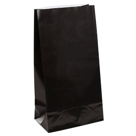 Black Paper Party Favor Bags, 12ct, Package of 12 Black Paper Party Favor Bags By Unique - Black Paper Bag