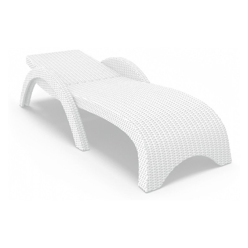 Compamia ISP860-WH Miami Resin Wickerlook Chaise Lounge White Set of 2 by Compamia
