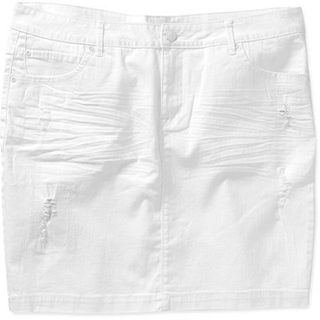 Faded Glory Women's Plus-Size Distressed Denim Skirt - Walmart.com
