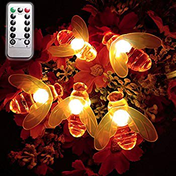 Remote Bee String Lights, 7.5Ft 20 Led Bee Shape Fairy String Lights Battery Operated String Lights for Garden, Patio, Lawn Decoration with Remote Control(Warm White)