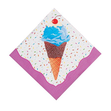 Fun Express - I Scream For Ice Cream Luncheon Napkins for Birthday - Party Supplies - Print Tableware - Print Napkins - Birthday - 16 Pieces - Ice Cream Supplies