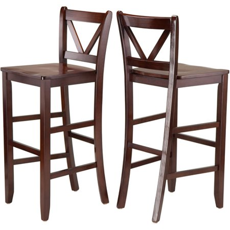 Winsome Victor 2 Piece V Back Bar Height Stool  Walnut