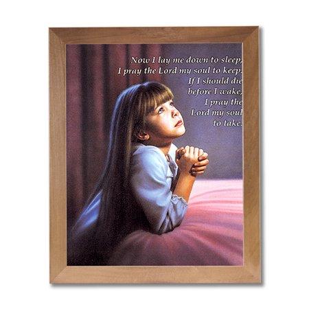 Kiss Framed - Girl Praying By Bed Kids Room Religious Wall Picture Honey Framed Art Print