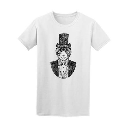 Cat Top Hat Elegant Vintage Tee Men's -Image by (Mens Hot Images)