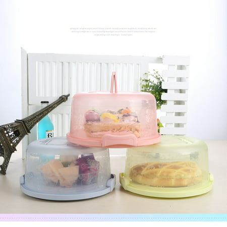 Portable Cupcake Cake Carrier Holder Cover Round Container with Collapsible Handles