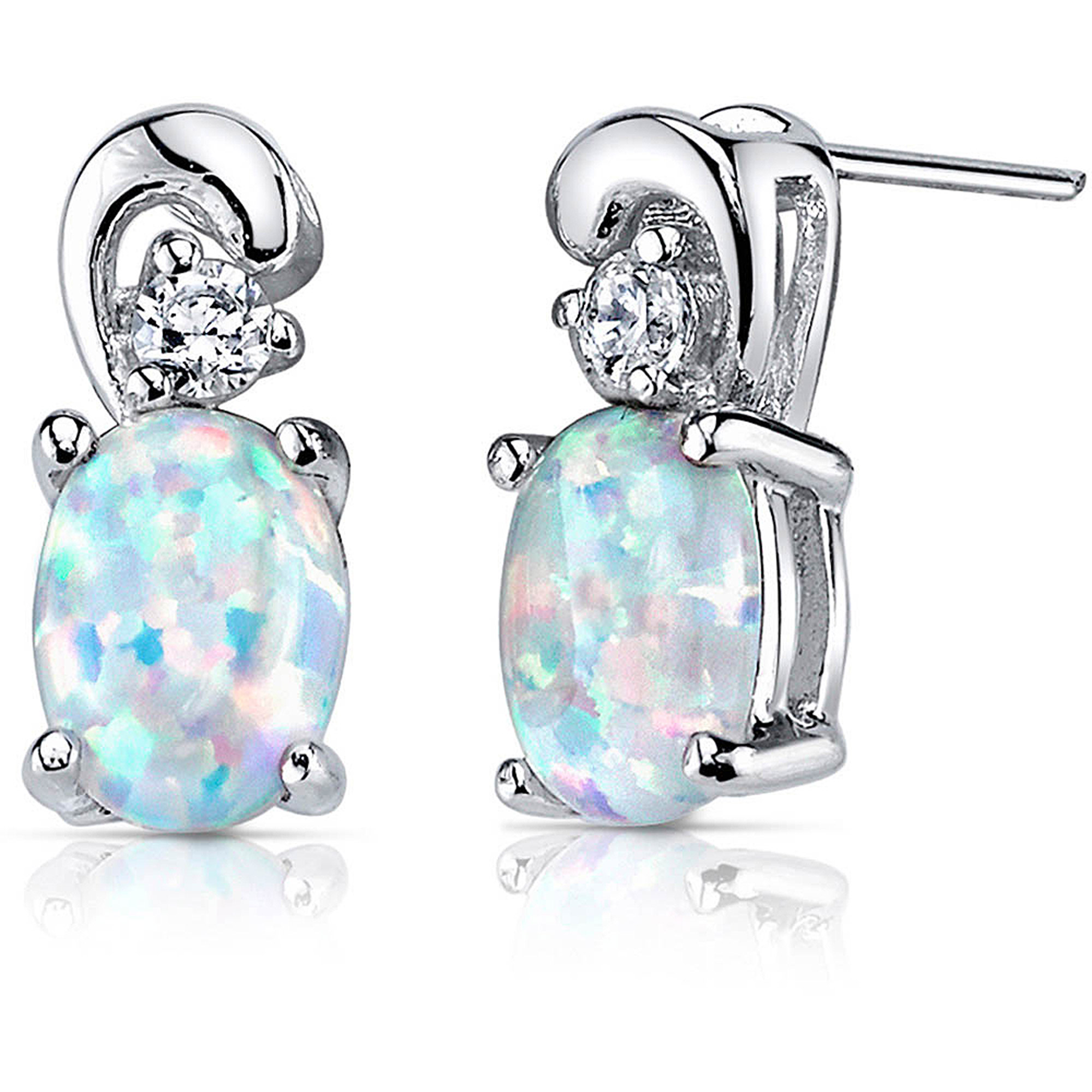 Oravo 1.50 Carat T.G.W. Created Opal CZ Rhodium over Sterling Silver Drop Earrings