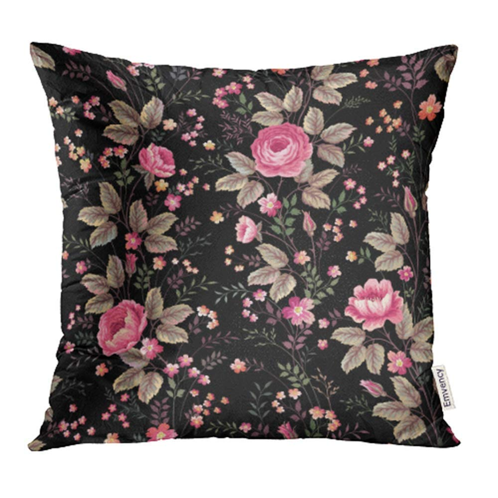 ARHOME Colorful Flower Floral Pattern with Roses on Black Green Blossom Bouquet Brunch Pillowcase Cushion Cover 18x18 inch