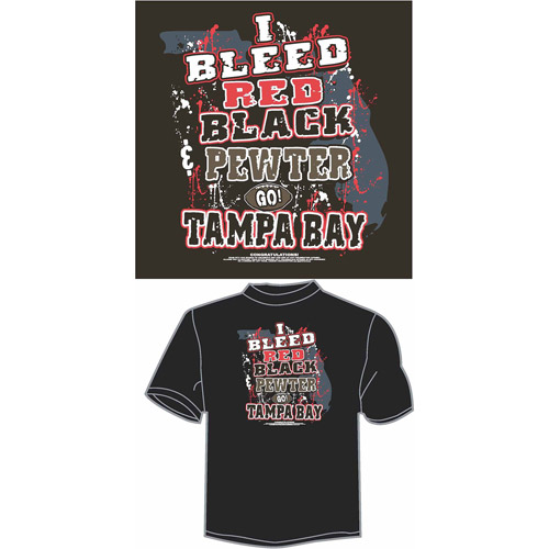 "Tampa Bay Football ""I Bleed Red, Black and Pewter, Go Tampa Bay"" T-Shirt, Black"