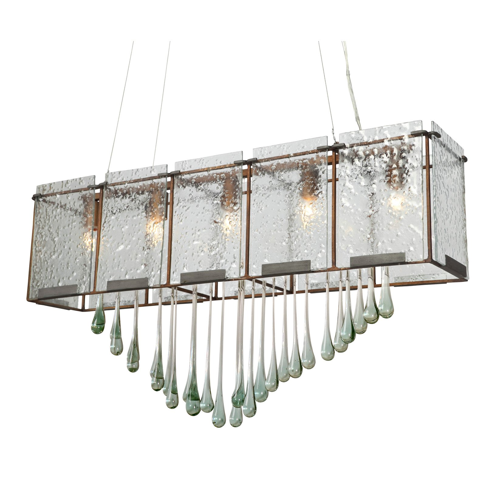 Varaluz 160N05H Rain Linear Pendant with Drops - 36.75W in.