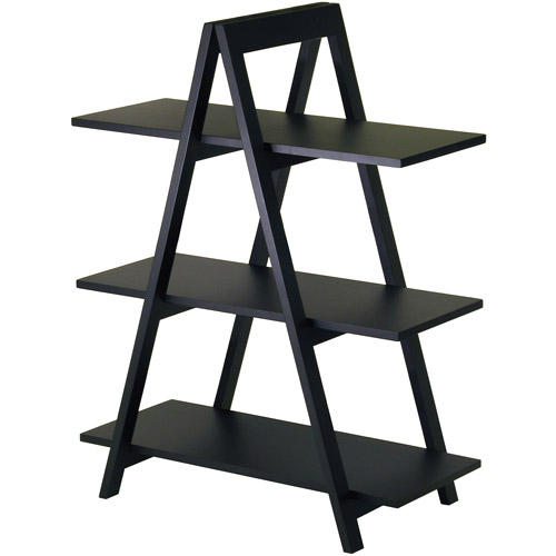 Wood A-Frame 3-Tier Shelf, Black