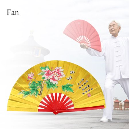 Tai Chi Fan,HURRISE Tai Chi Martial Arts Kung Fu Bamboo Silk Fan Right Hand Wushu Dance Pratice Training,Chinese Fan - Halloween Sports Fan