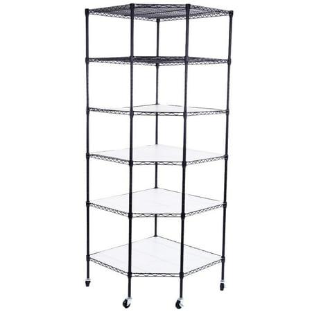Zimtown Storage Shelf 6-Layer Plastic Coated Polygonal Corner Shelf with 2