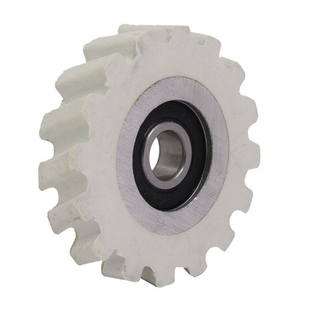 65mmx12mmx14mm Rubber Coated Steel Pinch Roller Rolling Wheel White ()