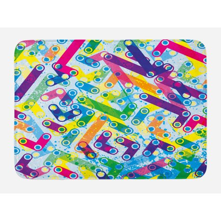Abstract Bath Mat Trippy Colorful Grunge Murky Background