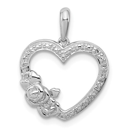 925 Sterling Silver Diamond Heart Pendant Charm Necklace Gifts For Women For Her