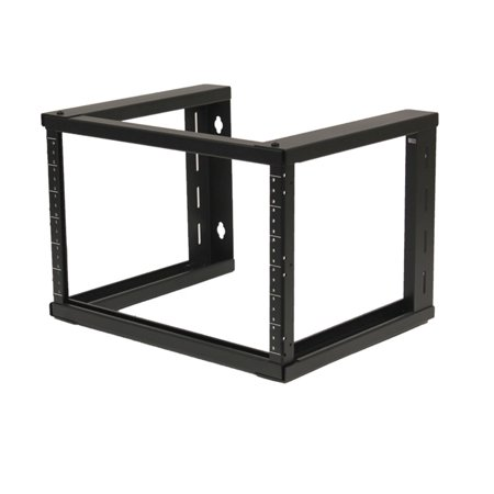 NavePoint 6U Wall Mount Open Frame 19 Inch Server Equipment Rack Threaded 16 inch depth Black (19 Rack Equipment)