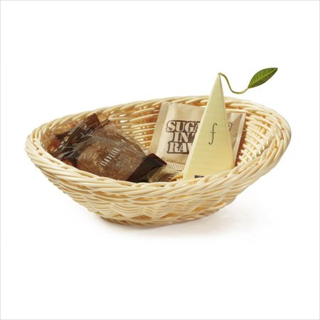 Designer Polyweave Baskets 7.25 inch x 5.75 inch Oval Basket 2 inch Deep Natural Polycarbonate/Case of 12 ()