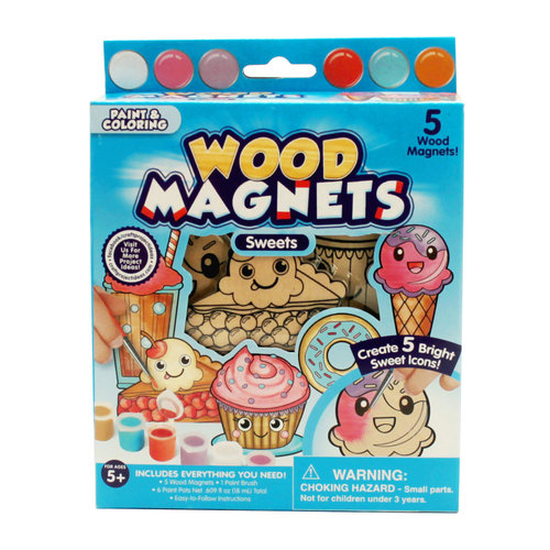 Wood Magnets Sweets Paint Set