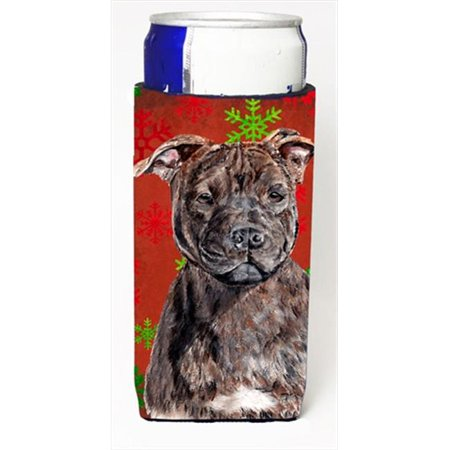 Staffordshire Bull Terrier Staffie Red Snowflakes Holiday Michelob Ultra bottle sleeves Slim Cans  12 Oz.