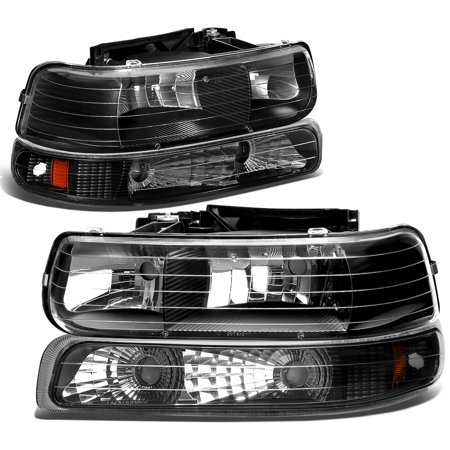 For 1999 to 2006 Chevy Silverado / Tahoe 4Pcs Headlight + Bumper Lamps Black Housing Amber Side - GMT800 00 01 02 03 04 05 Left+Right