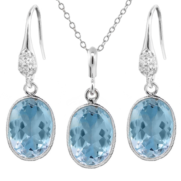 """21.00 Ct Blue Topaz 10x14mm Oval Shape Silver Pendant and Earrings Set 18"""" Chain by"""