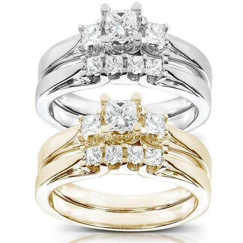 Annello 14k Gold 1/2 ct TDW Princess Diamond Bridal Ring Set (HI, I1-I2) White - Size 4.0