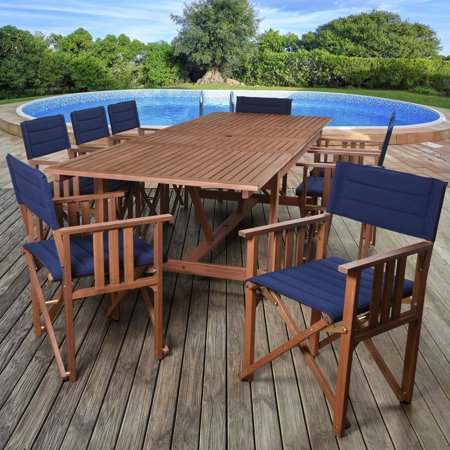 Amazonia  Orlando Blue, Brown Polyester Upholstery and Wood 9 Piece Double Leaf Extendable Rectangular Patio Dining Set ()