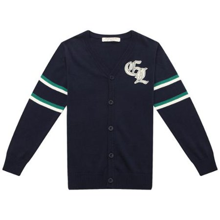 Big Boys Navy Matching Buttons Cardigan Sweater (Boys Navy Sweater)