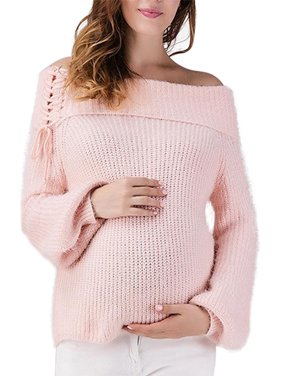 Qtymom Womens Off Shoulder Pullover Knit Tunic Maternity Sweater