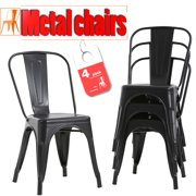 Metal Chairs Dining Stackable Dining Chairs Restaurant Metal Chairs Metal Kitchen Dining Chairs Set Of 4 Trattoria Chairs Indoor/Out Door Metal Tolix Side Chairs