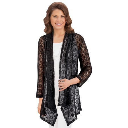- Collections Etc Women's Open Front Cascade Lace Cardigan Sweater, Black, X-Large