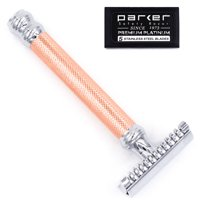 Parker 63C - ROSE GOLD Three Piece OPEN COMB Double Edge Safety Razor & 5 Parker Premium DE Blades