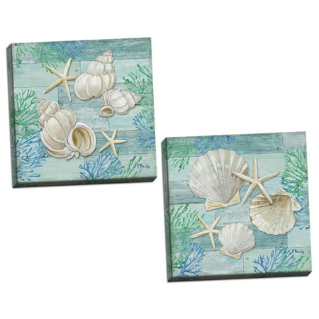 Gango Home Decor Coastal Watercolor Beach Decor | Blue, Green & Cream Shell & Starfish by Paul Brent (Ready to Hang); Two 12x12in Hand-Stretched Canvases