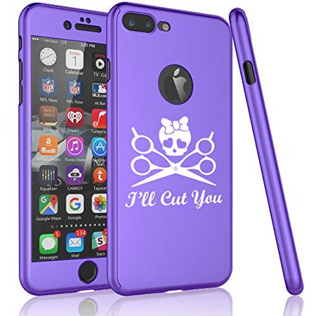 360° Full Body Thin Slim Hard Case Cover + Tempered Glass Screen Protector for Apple iPhone I'll Cut You Hair Dresser Stylist (Purple, for Apple iPhone 6 Plus / 6s Plus)](Apple Cut)
